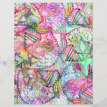 Abstract Girly Neon Rainbow Paisley Sketch Pattern