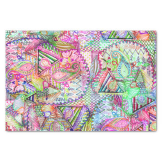 """Abstract Girly Neon Rainbow Paisley Sketch Pattern 10"""" X 15"""" Tissue Paper"""