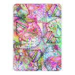 Abstract Girly Neon Rainbow Paisley Sketch Pattern Card