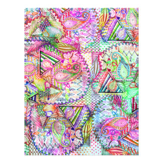 Abstract Girly Neon Rainbow Paisley Sketch Pattern Flyer