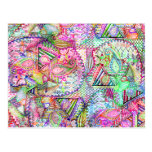 Abstract Girly Neon Rainbow Paisley Sketch Pattern Postcard