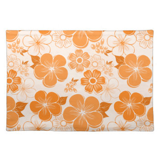 Abstract girly orange flowers placemats