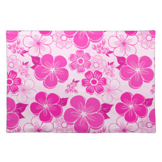 Abstract girly pink flowers place mat