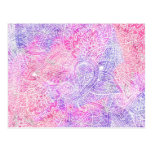 Abstract Girly Purple Pink Paisley Sketch Pattern Postcard