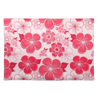 Abstract girly red flowers placemats