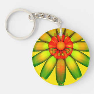 Abstract Glass Flower. Single-Sided Round Acrylic Keychain