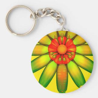 Abstract Glass Flower. Basic Round Button Keychain