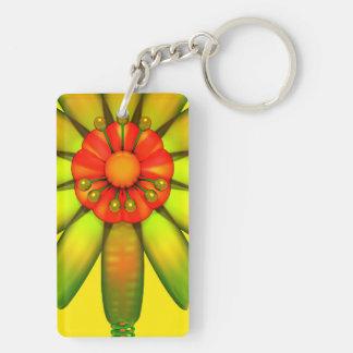 Abstract Glass Flower. Double-Sided Rectangular Acrylic Keychain