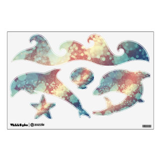 Abstract Glitter Yellow Red Blue Sparkles Dolphin Wall Decal