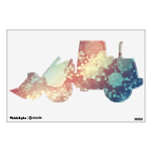 Abstract Glitter YellowRed Blue Sparkles Tractor Wall Skin