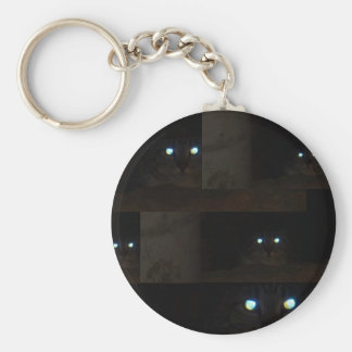 Abstract Glowing Cat Eyes Basic Round Button Keychain