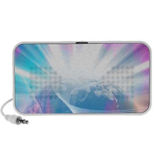 Abstract Glowing Earth Illustration Portable Speaker