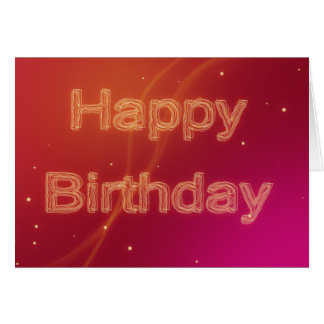 Abstract Glowing Happy Birthday - Greeting Card