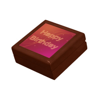 Abstract Glowing Happy Birthday - Tile Gift Box