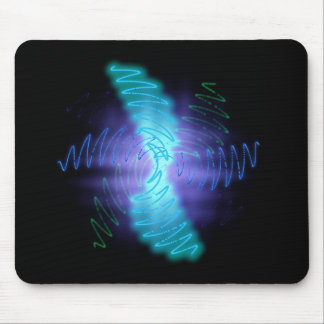 Abstract Glowing Music Waves - Mousepad