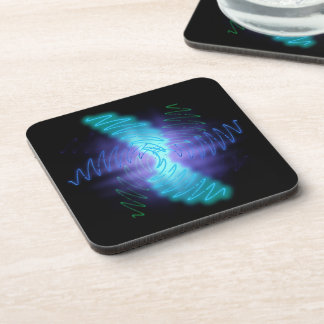 Abstract Glowing Music Waves - Plastic Coaster