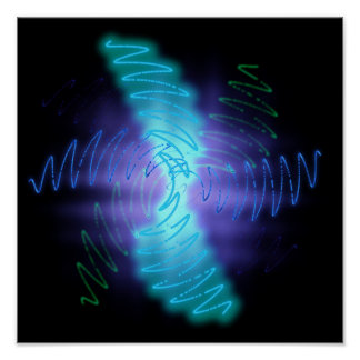 Abstract Glowing Music Waves - Poster Print