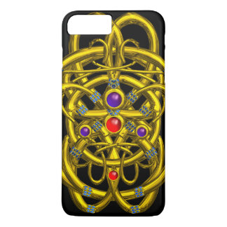 ABSTRACT GOLD CELTIC KNOTS,COLORFUL GEMS Black iPhone 7 Plus Case