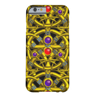 ABSTRACT GOLD CELTIC KNOTS WITH COLORFUL GEMSTONES BARELY THERE iPhone 6 CASE