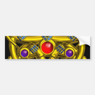 ABSTRACT GOLD CELTIC KNOTS WITH COLORFUL GEMSTONES BUMPER STICKER
