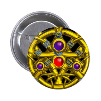 ABSTRACT GOLD CELTIC KNOTS WITH COLORFUL GEMSTONES BUTTON