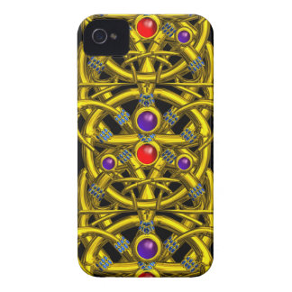 ABSTRACT GOLD CELTIC KNOTS WITH COLORFUL GEMSTONES iPhone 4 CASE