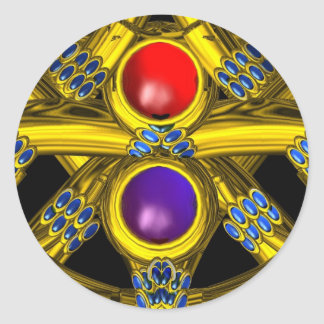 ABSTRACT GOLD CELTIC KNOTS WITH COLORFUL GEMSTONES CLASSIC ROUND STICKER