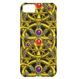 ABSTRACT GOLD CELTIC KNOTS WITH COLORFUL GEMSTONES COVER FOR iPhone 5C