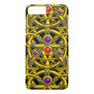 ABSTRACT GOLD CELTIC KNOTS WITH COLORFUL GEMSTONES iPhone 7 PLUS CASE