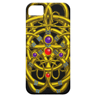 ABSTRACT GOLD CELTIC KNOTS WITH COLORFUL GEMSTONES iPhone SE/5/5s CASE