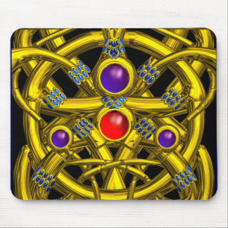 ABSTRACT GOLD CELTIC KNOTS WITH COLORFUL GEMSTONES MOUSE PAD
