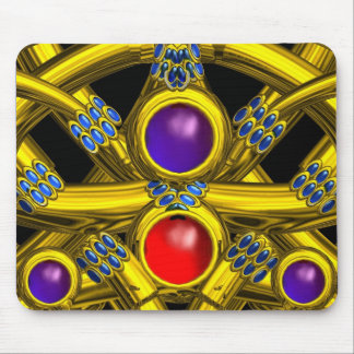 ABSTRACT GOLD CELTIC KNOTS WITH COLORFUL GEMSTONES MOUSEPADS
