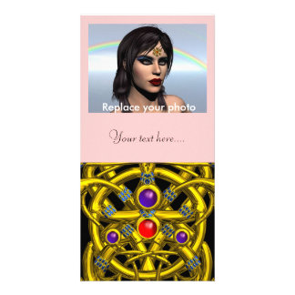 ABSTRACT GOLD CELTIC KNOTS WITH COLORFUL GEMSTONES PHOTO CARD