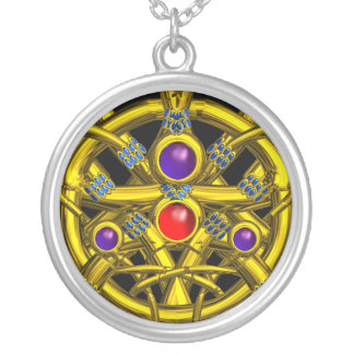 ABSTRACT GOLD CELTIC KNOTS WITH COLORFUL GEMSTONES ROUND PENDANT NECKLACE