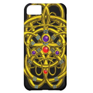 ABSTRACT GOLD CELTIC KNOTS WITH GEMSTONES CASE FOR iPhone 5C