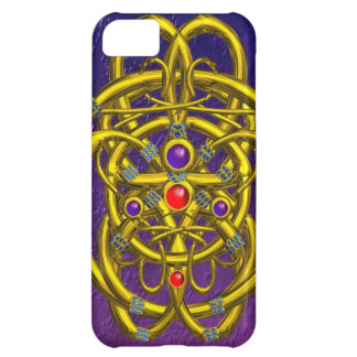 ABSTRACT GOLD CELTIC KNOTS WITH GEMSTONES iPhone 5C COVER