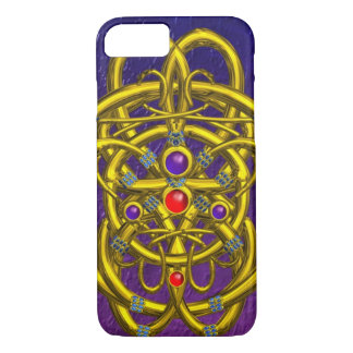 ABSTRACT GOLD CELTIC KNOTS WITH GEMSTONES Purple iPhone 7 Case