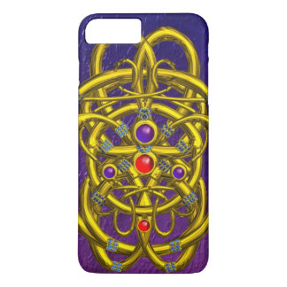 ABSTRACT GOLD CELTIC KNOTS WITH GEMSTONES Purple iPhone 8 Plus/7 Plus Case
