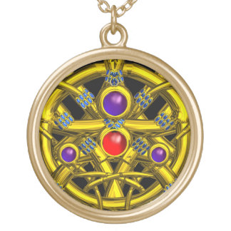 ABSTRACT GOLD CELTIC KNOTS WITH GEMSTONES ROUND PENDANT NECKLACE