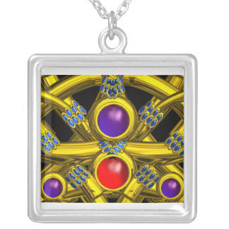 ABSTRACT GOLD CELTIC KNOTS WITH GEMSTONES SQUARE PENDANT NECKLACE