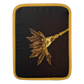 ABSTRACT GOLD FLOWER ON BLACK BACKGROUND SLEEVE FOR iPads