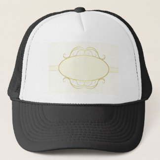 Abstract gold frame trucker hat