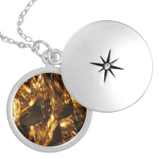 Abstract - gold leaf round locket necklace
