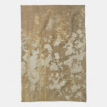 Abstract Gold Painting with Silver Speckles Hand Towels