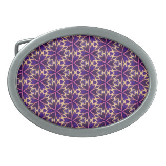 Abstract Gold Pink Flowers Belt Buckle