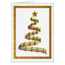 Abstract Gold, Red, and Green Christmas Tree Card
