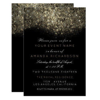 Abstract Gold Sparkly Glitter Black White Event Card