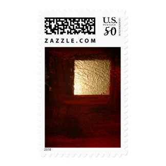 Abstract Gold Square Red Brown Postage