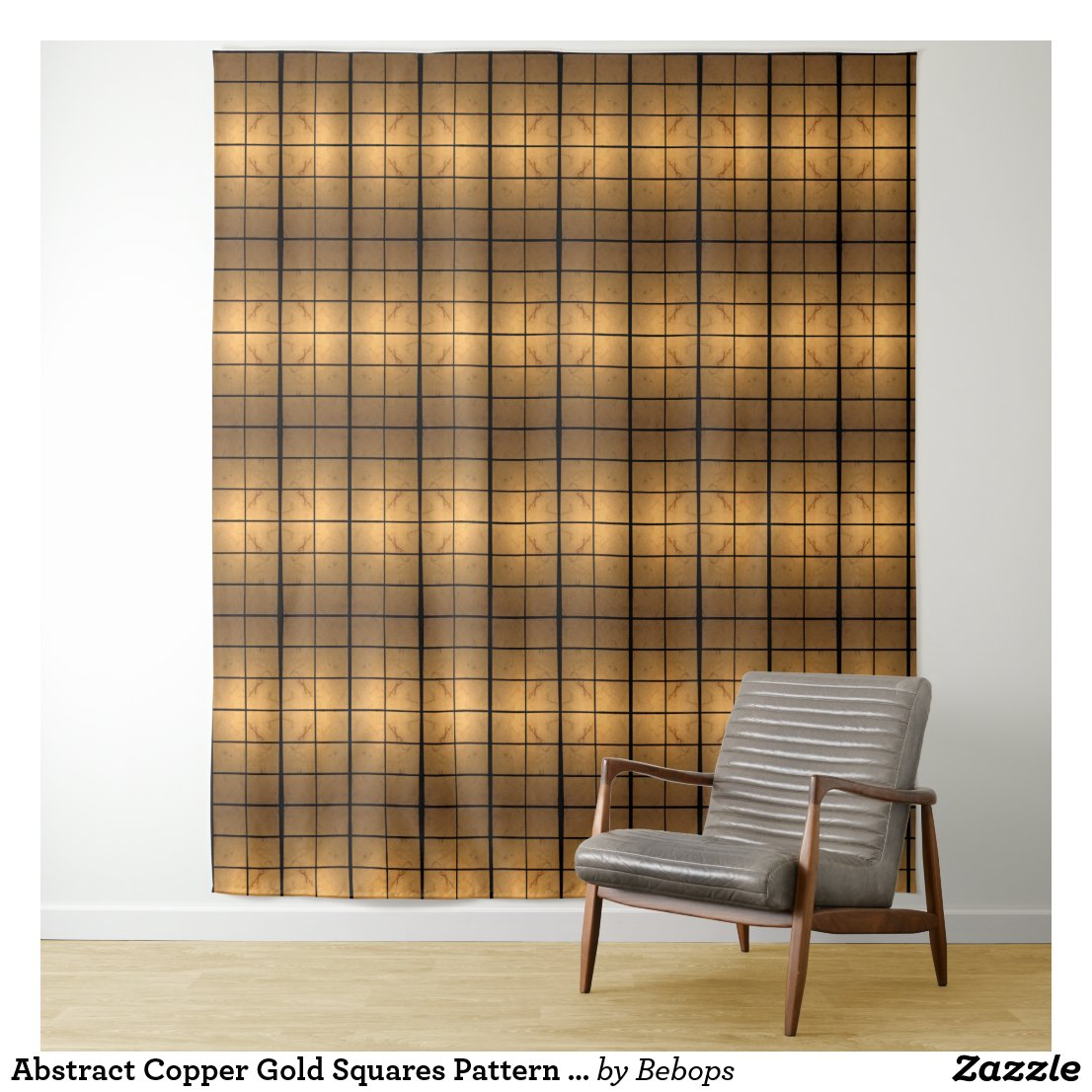 Abstract Gold Squares Pattern Wall Tapestry