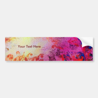 ABSTRACT GOLD SWIRLS , red pink purple yellow Car Bumper Sticker